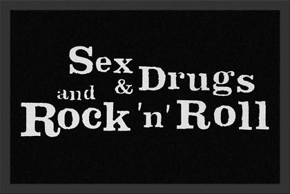 Fußmatte- Sex, Drugs & R´NR Türmatte 060 x 040 cm, sauberlaufmatte, fußabtreter, Schmutzmatte