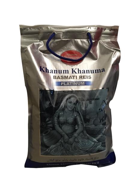 Khanum Khanuma Basmati Reis 5 Kg auch für Reiskocher und Reiskuchen/ Reiskruste Tadig geeignet