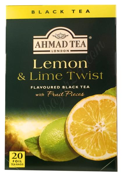 Ahmad Tea- Lemon & Lime Twist, Schwarzer Beutel-Tee 20 in aroma- versiegelte Folie á 2 Gramm