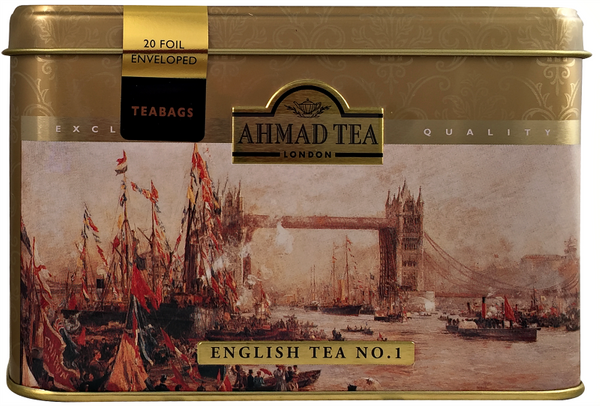 Ahmad Tea- London in Silber mit Londoner Motive aus 20 English Tea No.1 Schwarzer Beutel- Tee