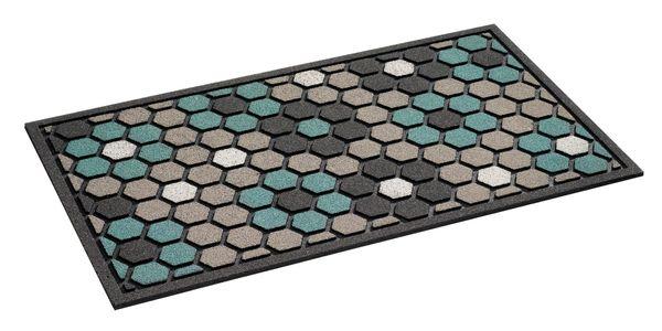 Fussmatte- Motiv floral tiles grey 46x76cm, Out-Matte, Sauberlaufmatte, Türmatte