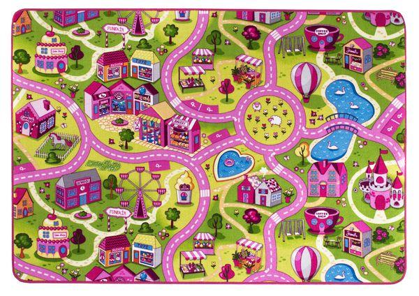 Kinderteppich- Straßen Spielteppich 140 x 200 cm in Rosa