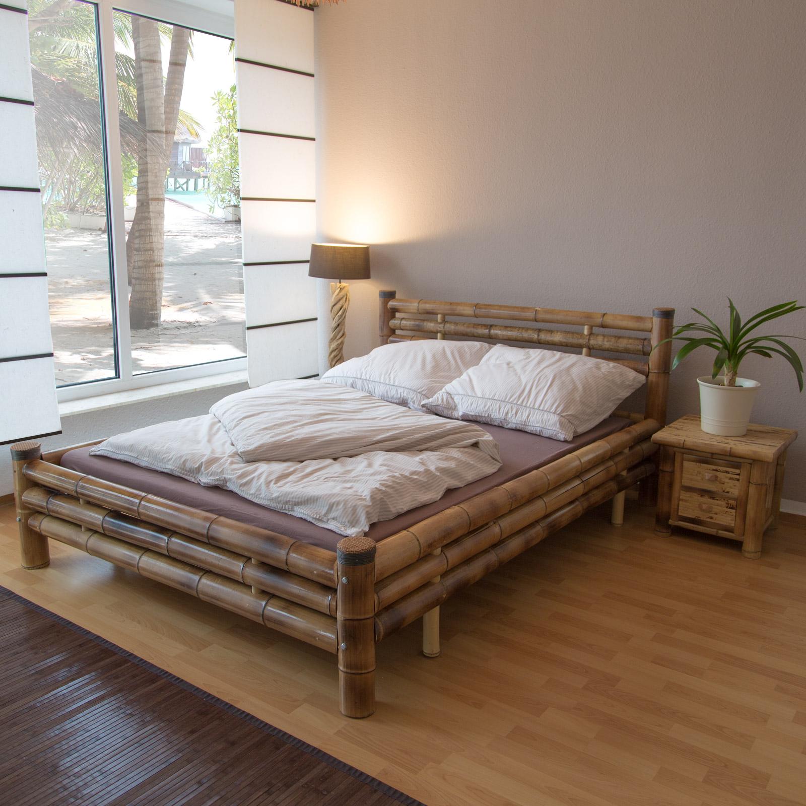 bambusbett bambus bett 140 x 200 braun massiv doppelbett. Black Bedroom Furniture Sets. Home Design Ideas