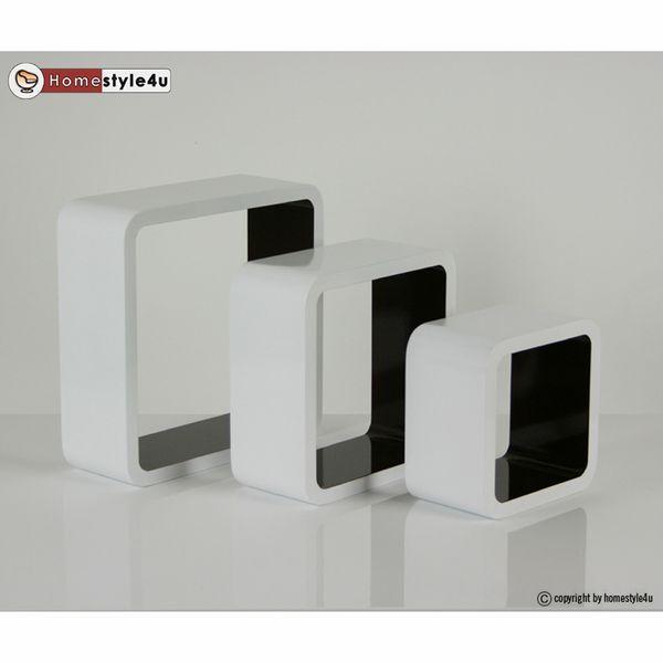 Cube Design Retro Wandregal CD Regal Braun Bücherregal Cubes Würfel 3 er Set