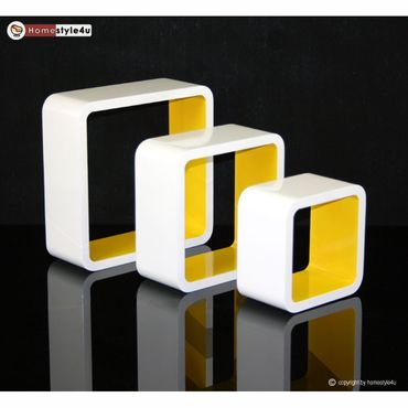Cube Design Retro Wandregal CD Regal Gelb Bücherregal Cubes Würfel 3 er Set
