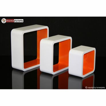 Cube Design Retro Wandregal CD Regal Orange Bücherregal Cubes Würfel 3 er Set