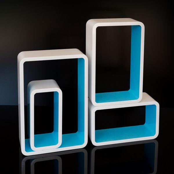 Cube Design Retro Wandregal CD Regal Blau Bücherregal Cubes Würfel 4 er Set bunt