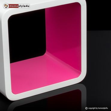 Cube Design Retro Wandregal CD Regal bunt Bücherregal Cubes Würfel Pink