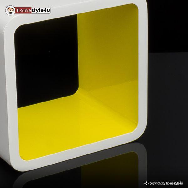 Cube Design Retro Wandregal CD Regal bunt Bücherregal Cubes Würfel Gelb