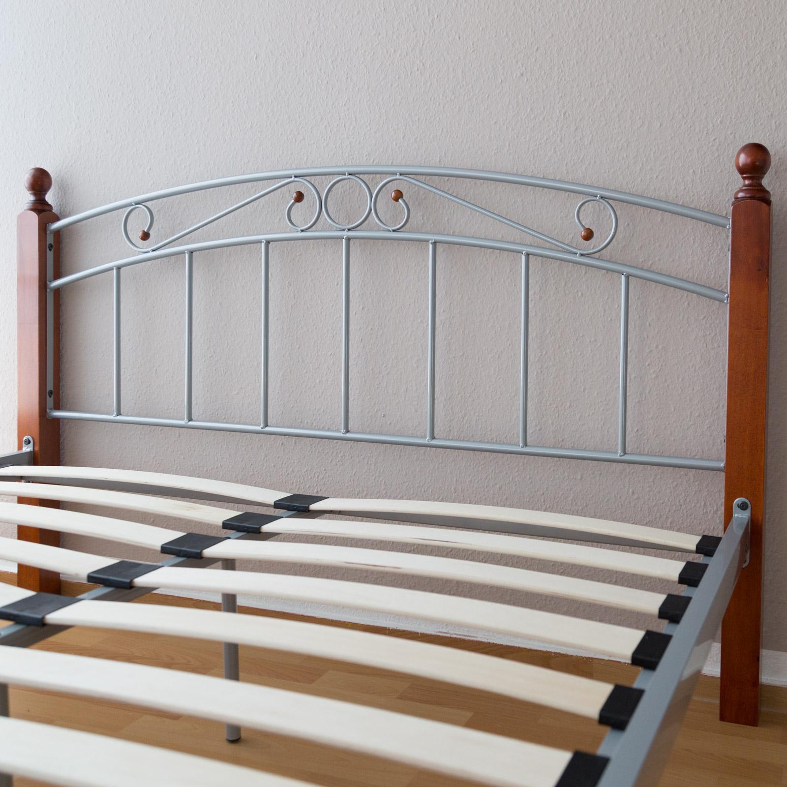 Metallbett 180 x 200 Bettgestell Doppelbett Bettrahmen + Lattenrost ...