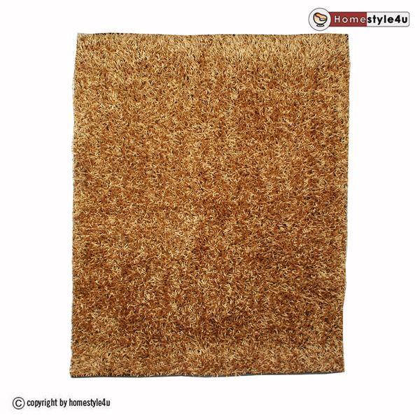Designer Hochflor Teppich Shaggy 80 x 150 cm beige Neu Moderner Langflor
