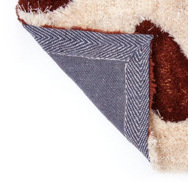 Design Shaggy Hochflor Teppich Langflor Blumen Muster braun weiß 120 x 170 cm