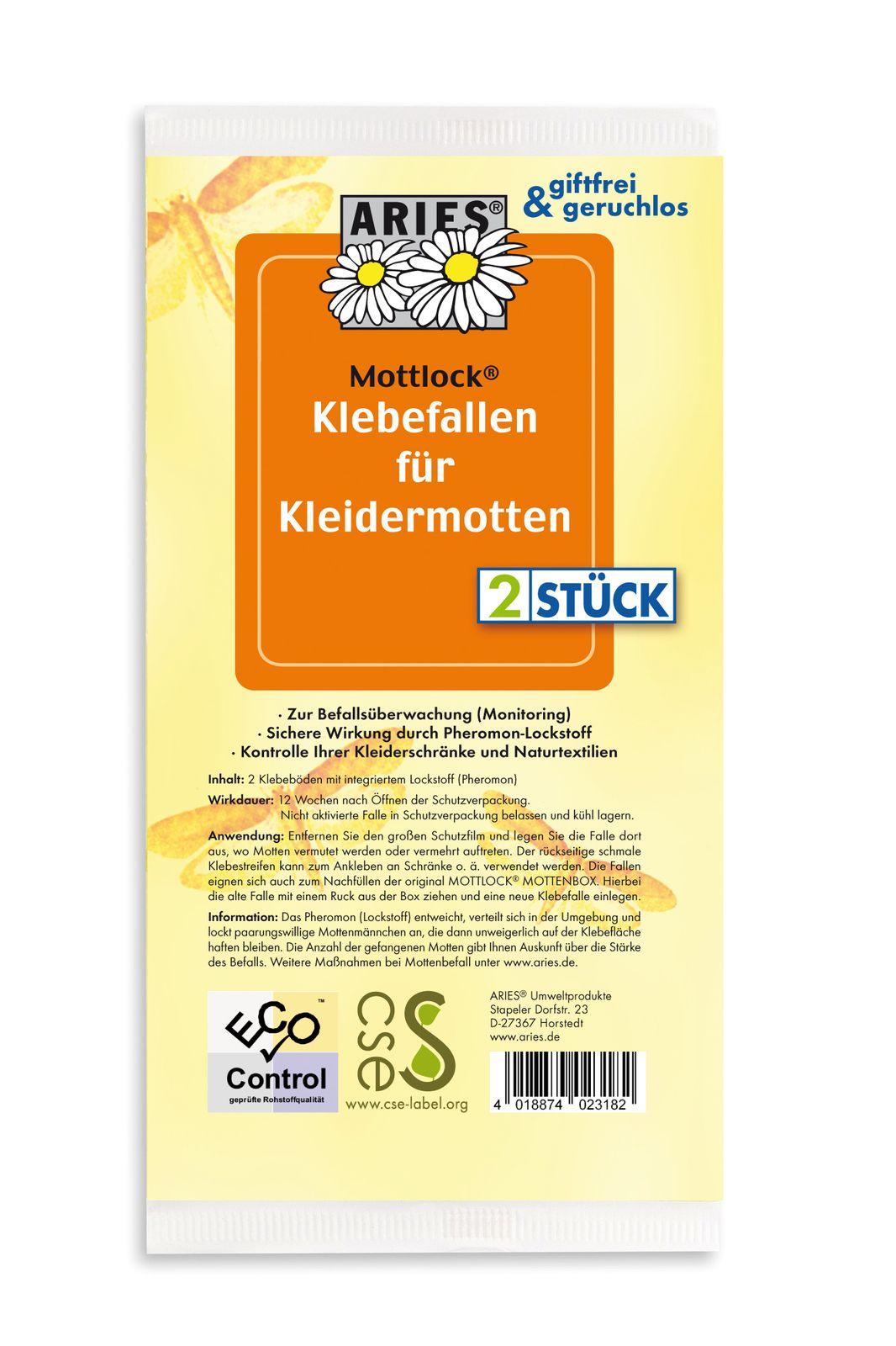 Aries- 2 Ersatzset Klebebretter für die Mottenbox mit Aufhängebügel für die Kleidungsmotten und Lebensmittel