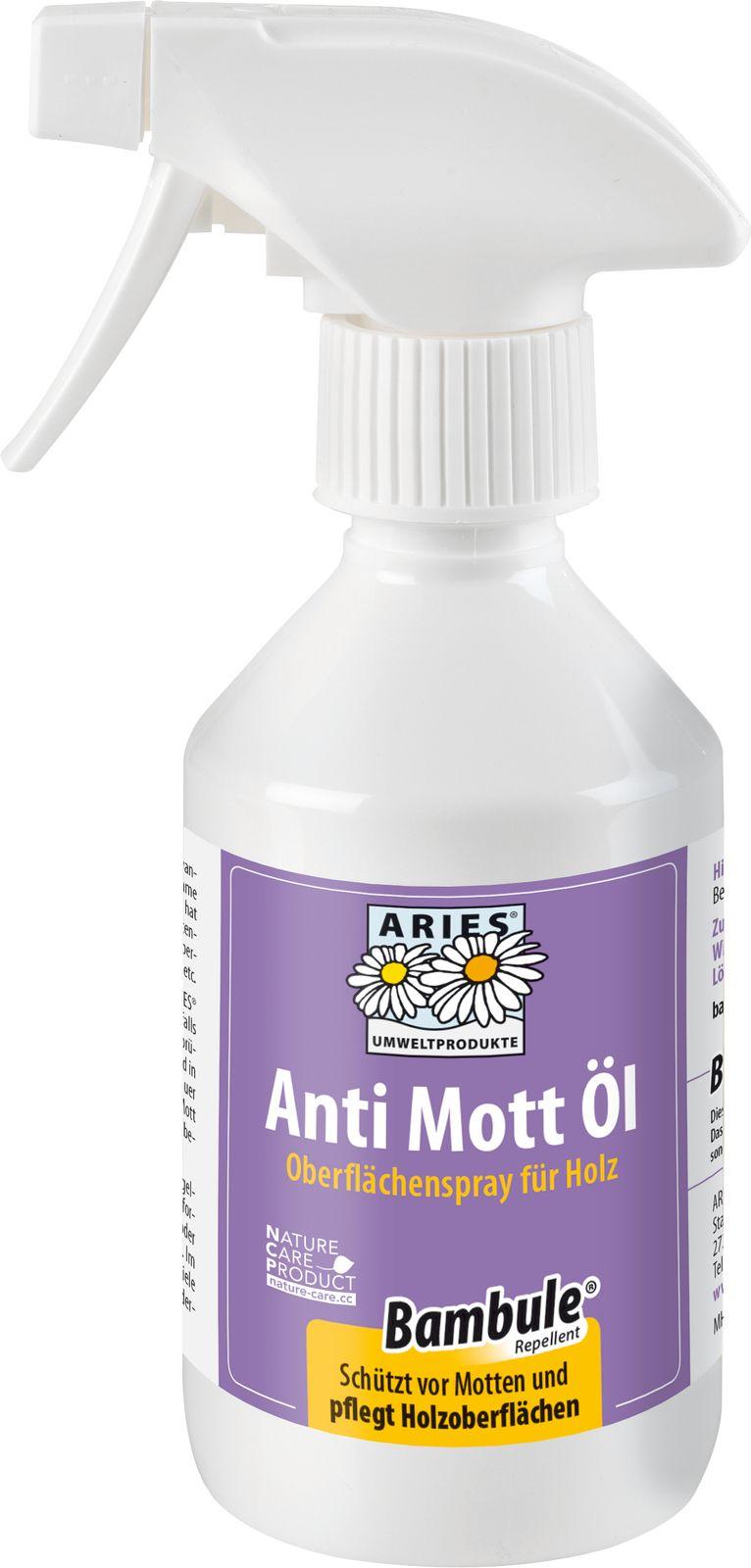 Aries- Anti Mott Öl 250 ml PET Flasche mit Spray Mottenvertreibung & Holzpflege