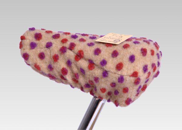 Fahrradsattelbezug Wolle Noppen beige 20/30 cm
