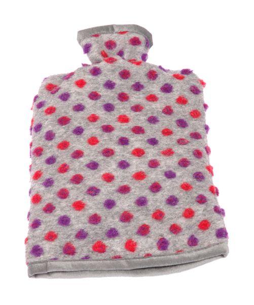 Wärmflaschenbezug Wolle Noppen silber 20/30 cm