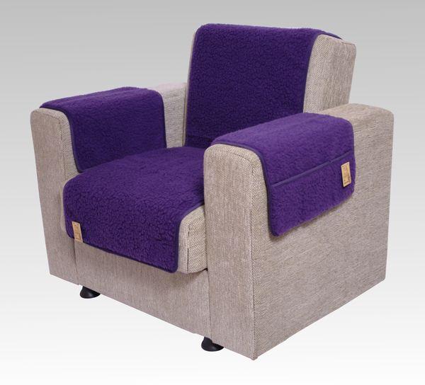 Kombinierter Armlehnen- und Sesselschoner Wolle lila 150 cm x 50 cm + 2 mal 70 cm x 40 cm  mit 2 Taschen