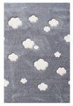 Kinderteppich- Auf Wolke 7 Teppich in Silbergrau mit weißen Wolken, Kinderzimmer-Teppich 001