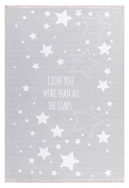 "Kinderteppich- Silbergrau Teppich mit Weißen Sternen ""I Love You More Than All The Stars"""