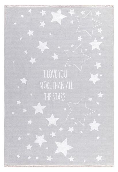 "Kinderteppich- Silbergrau Teppich mit Weißen Sternen ""I Love You More Than All The Stars"""