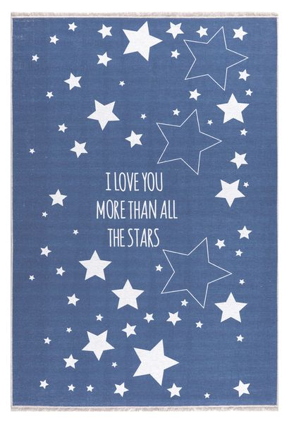 "Kinderteppich- Jeansblau Teppich mit Weißen Sternen ""I Love You More Than All The Stars"""