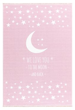 "Kinderteppich- Rosa Teppich mit Mond und Sterne ""We Love You -To The Moon and Back-"""