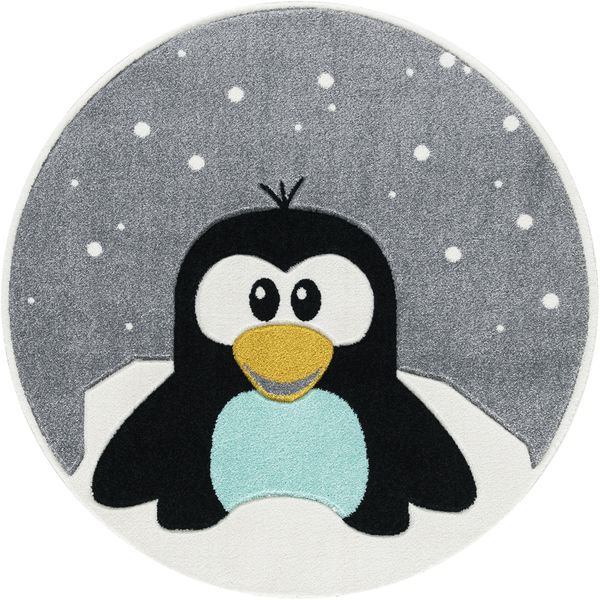 "Kinderteppich- Pinguin ""Elliot"" in Grau Design by Svanhilde, Kinderzimmer"