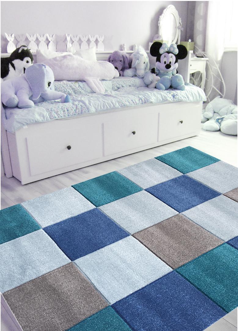 Große Kinderteppiche kinderteppich karo groß in blau kinderzimmer teppich