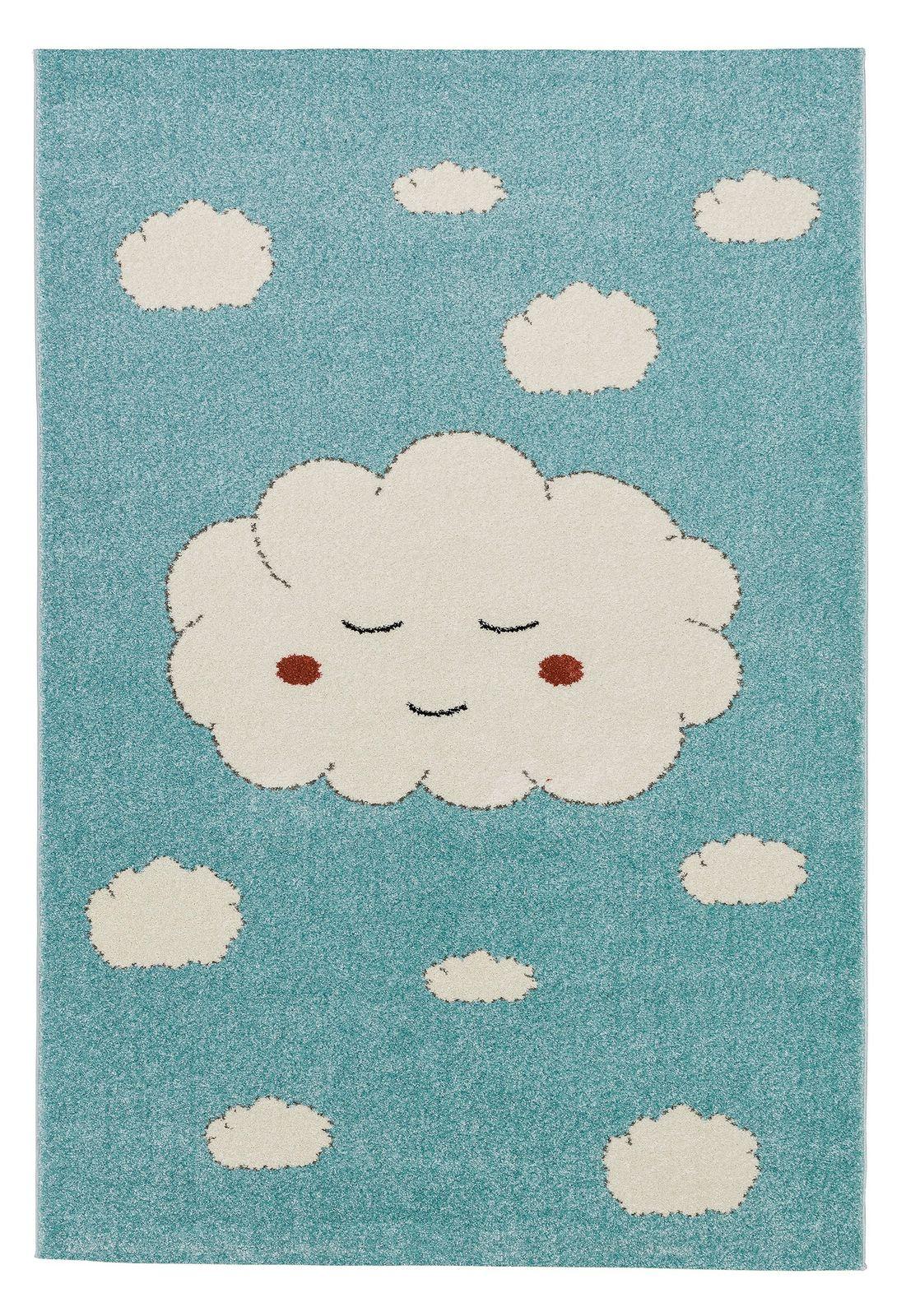 kinderteppich wolken teppich 80 x150 120 x170 cm mit gro en wei en wolken kinderzimmer. Black Bedroom Furniture Sets. Home Design Ideas