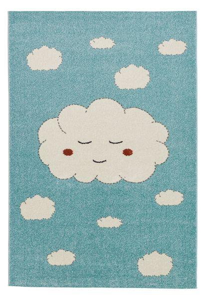 Kinderteppich- Wolken Teppich 80 x150/ 120 x170 cm mit großen weißen Wolken, Kinderzimmer