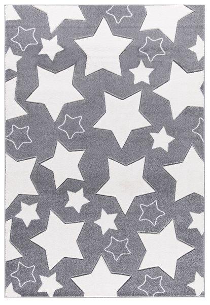 Kinderteppich- Groß und kleine Sterne in drei Farben und drei Größen Spielzimmer
