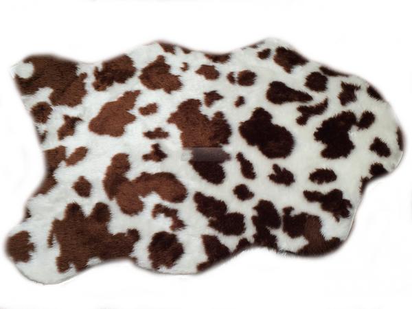 Kunstfell Teppich- Kuhfell Braun in 3 Größen, Tier Fell, Tiermuster in Braun, Weiß