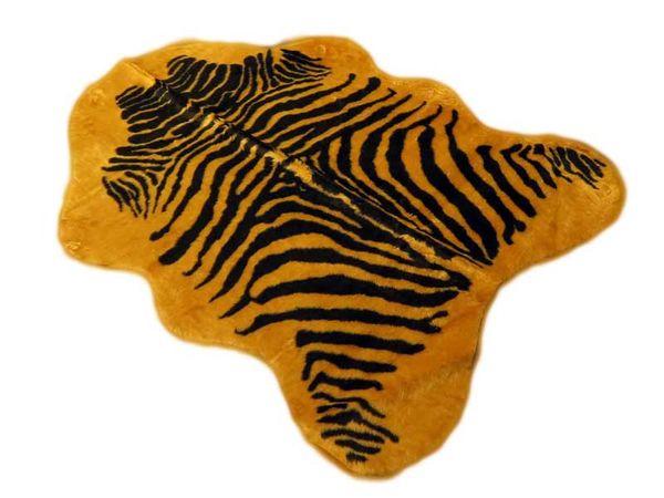 Kunstfell Teppich- Zebra Honig in 3 Größen, Tier Fell, Tiermuster in Honig Schwarz