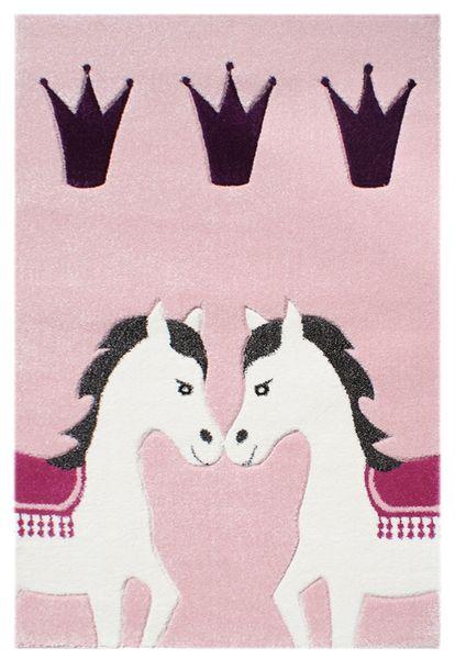 Kinderteppich- Pferdezirkus in Pink 120 x 180 cm für alle Prinzessinen, Kinderzimmer