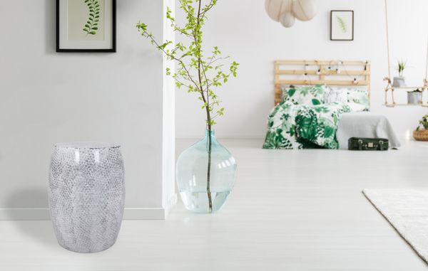 Metallhocker Colombo 110 Weiß / Grau