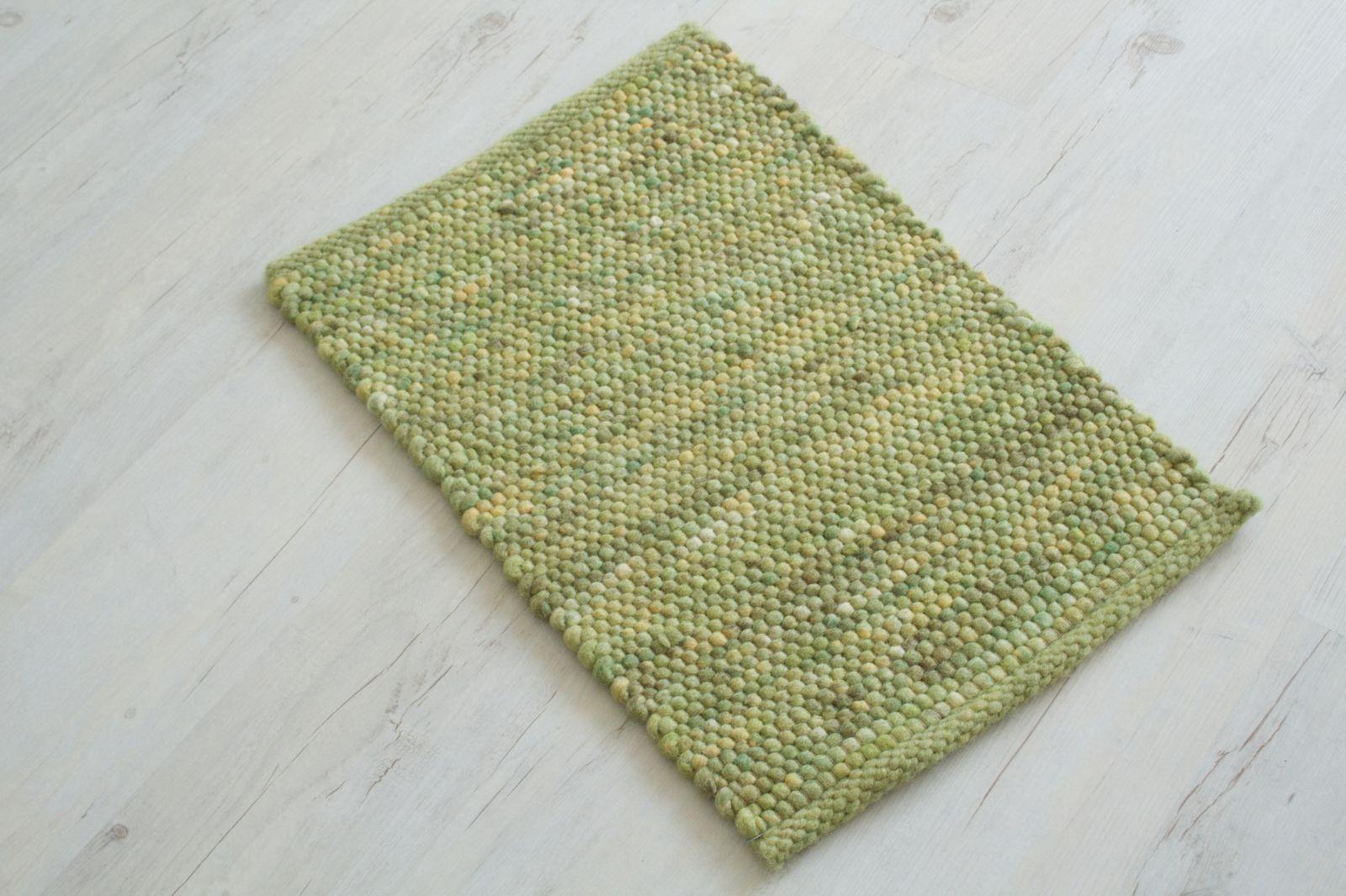 Pogo 60 x 40 cm Handgewebter Teppich Grün meliert