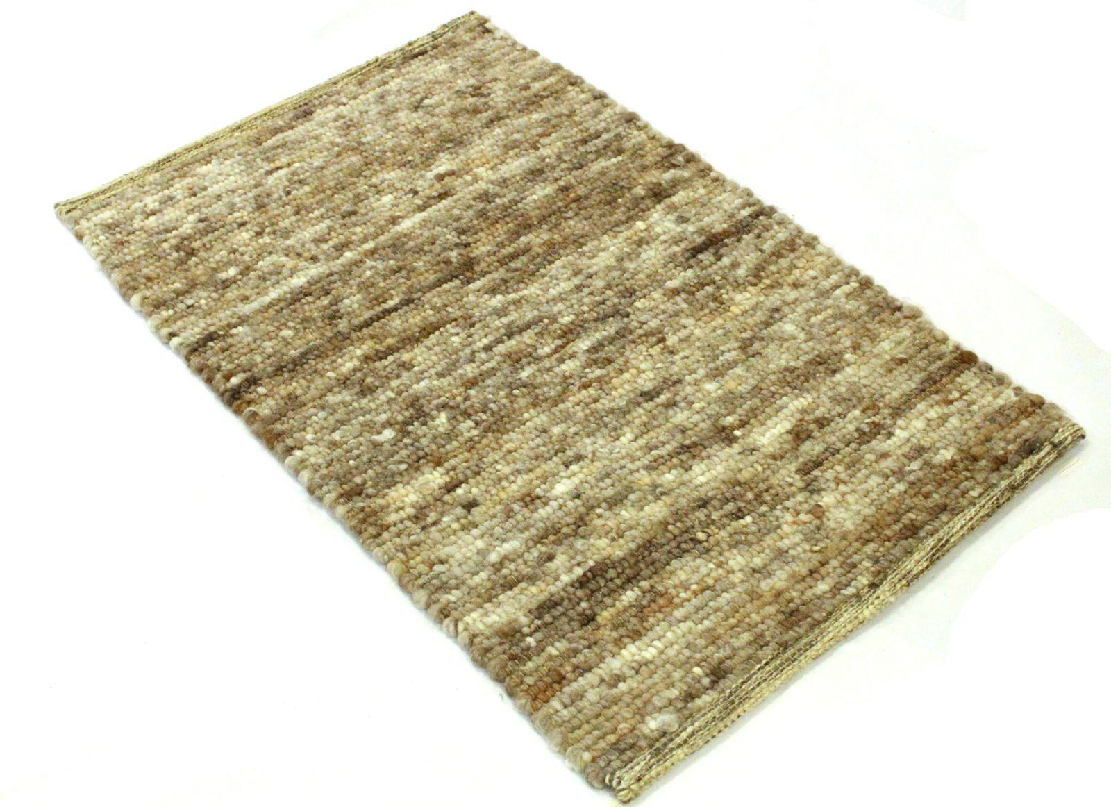 Pogo Handgewebter Teppich braun-sandfarben meliert 60 x 90 cm Türmatte oder Bettvorleger